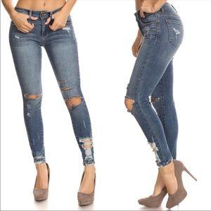Denim - Destroyed Ankle Skinny Jeans